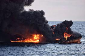 """""""桑吉""""轮撞船事故后续 沉船海域溢油面积近200平方公里"""