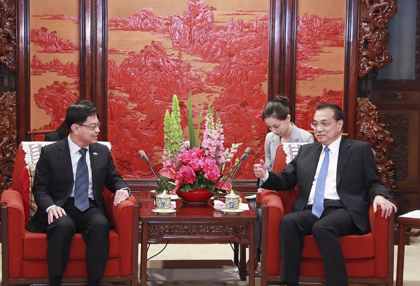 李克强会见新加坡副总理兼财政部长王瑞杰