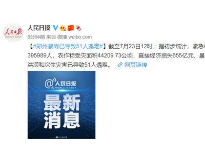 郑州特大暴雨已导致51人遇难,直接经济损失655亿元